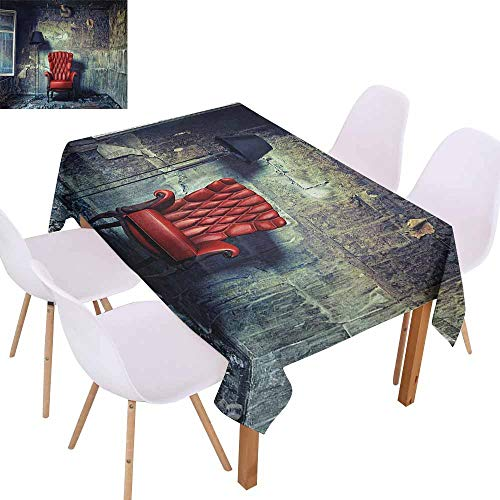 - UHOO2018 Antique,Burgundy Table Cloth,Old Armchair Floor Lamp in Grunge Interior Damaged Messy Abandoned House,for Patio Garden Tabletop Decor,Pale Green Red Black,60