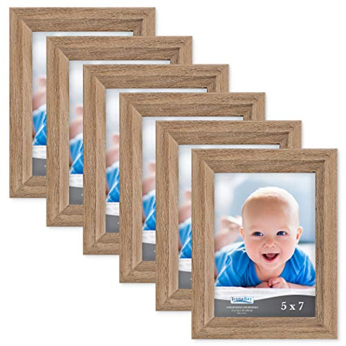 Icona Bay 5x7 Picture Frame (6 Pack, Dark Oak Wood Finish), Photo Frame 5 x 7, Composite Wood Frame for Walls or Tables, Set of 6 Cherished Memories Collection (Wooden Photo Frames)