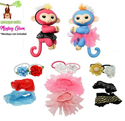 MONKEY GLAM - 12 PIECE GLAMOROUS REVERSIBLE TUTU AND HEADBAND SET - Perfect for dolls and Interactive Baby Monkeys - Great Xmas gift accessory (Pink White) Reversible Tutu