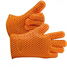 Heat Resistant Silicone Gloves Kitchen Bakeware Oven Mitts Pot Holders Silicone Cooking BBQ Pot Holder Mitt Grill Gloves ( 1 pair) (orange)