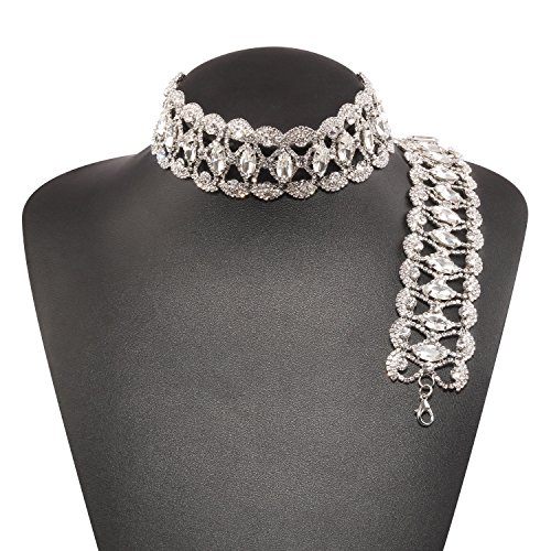 Holylove Silver New Trend Stylish Bling Choker Necklace & 1 Bracelet with Gift Box-HLN00025 Silver Set