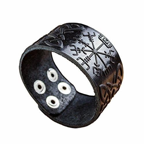 Real Leather Viking Runes Bracelet 6.3- 7 Wrist Adjustable Black Cuff Wrap Punk Wristband Stylish Accessory Gift Box