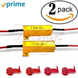 #10: 2PCS 50W 8Ohm LED Load Resistors for LED Turn Signal Lights or LED License Plate Lights or DRL (Fix Hyper Flash, Warning Cancellor) with 4pc Quick wire Clip