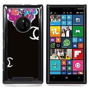 GIFT CHOICE / Teléfono Estuche protector Duro Cáscara Funda Cubierta Caso / Hard Case for Nokia Lumia 830 // Begonia Floral Black Clothing Fashion //