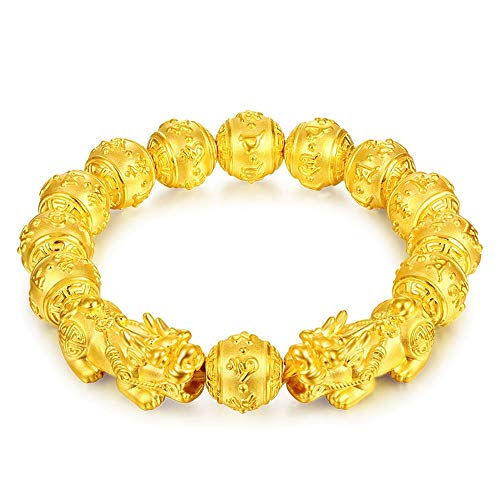 Prime Feng Shui Bracelet Porsperity Bling Golden Mantra Bead Bracelet with Double Pi Xiu/Pi Yao Attract Wealth and Good Luck Best Gift(12mm) ()