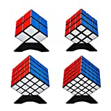 Magic Speed Cube Puzzle Bundle Set 2x2x2, 3x3x3, 4x4x4, 5x5x5 with Extra 4 Display Stand, 4 Portable Bag