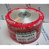 50 Pk Ridata Ritek 52X 80MIN 700MB Blank CD CDR Media Silver Full Logo Surface