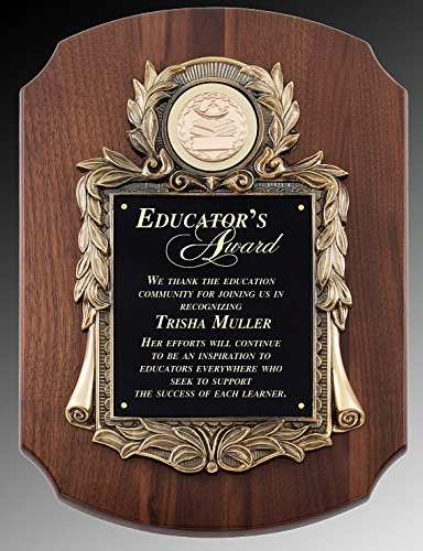 Solid Walnut Large Plaque with Metal Casting and FREE Engraving, Holds ()