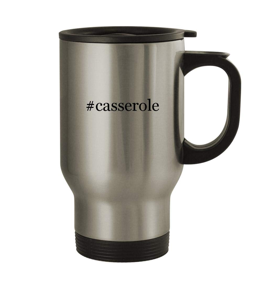 #casserole - 14oz Sturdy Hashtag Stainless Steel Travel Mug, Silver
