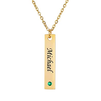 5a6c6fe0f18d4 HooAMI Vertical Bar Necklace Personalized Birthstone Name Necklace  Stainless Steel Custom Made with Any Name