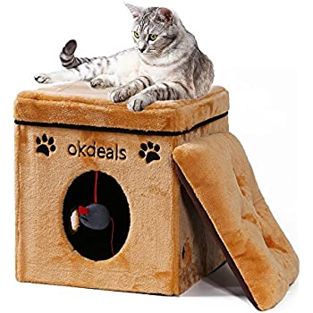 Collapsible Cat House, Cat Cube with Soft Mat for Small Dog Cat,Folding Cat Condo Pet Bed