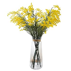 Htmeing 4pcs Mimosa Artificial Silk Flowers Fake Plants Branches Spray Pudica Acacia Bouquet Home Wedding Fall Decoration (Yellow) 14