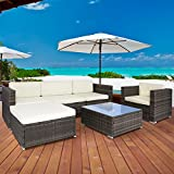 Best ChoiceProducts 6 Piece Outdoor Patio Garden Furniture Wicker Rattan Sofa Set Sectional, Gray
