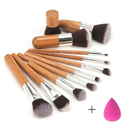 11 Pcs Bamboo Handle Makeup Brushes Set Eyeshadow Concealer