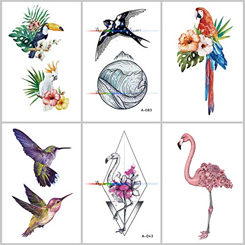 KAMRL Fake Tattoos Bird Flower Fake Tattoo For Adult Original Flamingo Waterproof Temporary Tatoo Stickers On Art Tattoos 8Pc
