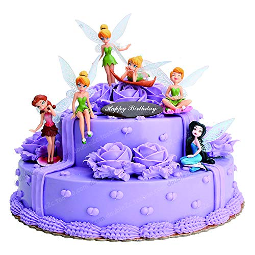 Tinker Bell Fairies Princess PVC Doll Toy 6pcs Cake Topper Grils Kids Birthday Gift Toys Tinker Bell Fairies Toys DIY Cake Decoration