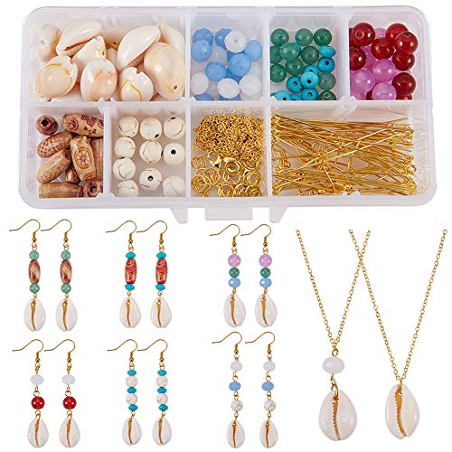 SUNNYCLUE 1 Box DIY 2 Necklace /& 10 Pairs Earrings Hollow Bead Cage Pendant Necklace Earrings Jewelry Making Kit Aromatherapy Essential Oil Diffuser Locket Cage Lava Chakra Gemstone Beads Chain Making