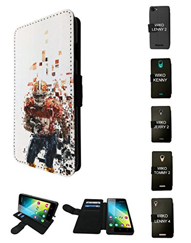 Jerry Bowl (001790 - American Sport Football Player Super Bowl Design Wiko Jerry 2 2017 Flip Case Purse pouch Stand Cover)