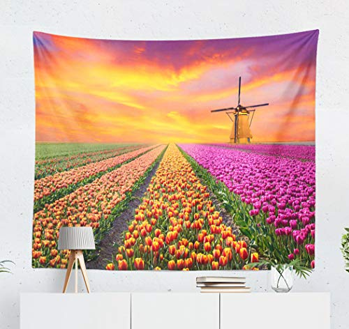 threetothree 60 X 50 Inches Tapestry Wall Hanging Interior Decorative Magical Landscape with Sunrise Tulip Field Netherlands Stress for Bedroom Living Room Tablecloth Dorm ()