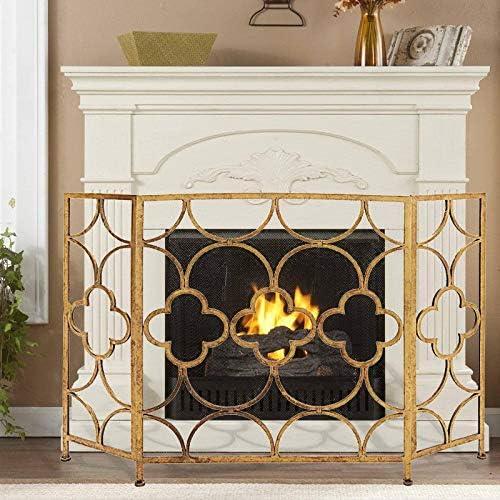 手作りの錬鉄メッシュ暖炉スクリーン - ファイアスパークガード - 3 - パネル - 23X86X90cm - ゴールド