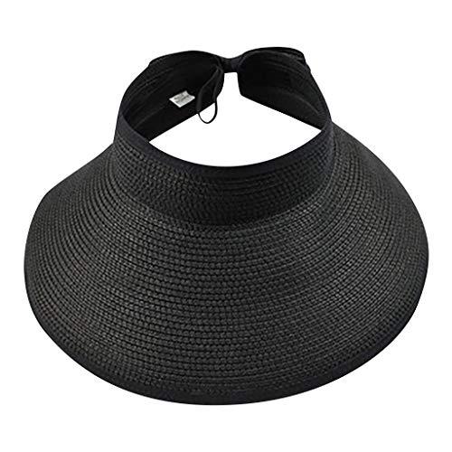 Women's Summer Big Wide Brim Foldable Straw Sun Visor Hat Beach Hat (Black)