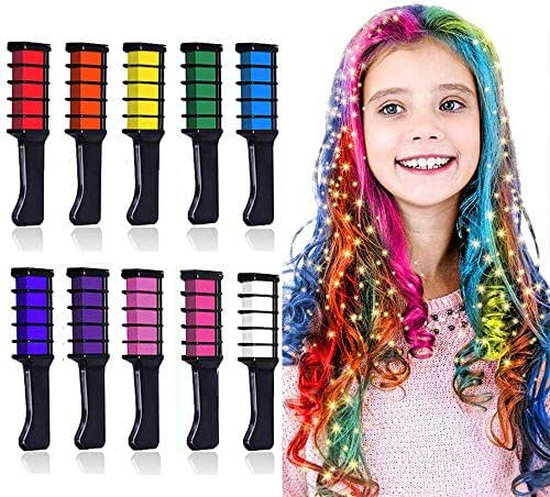 10 Colors Hair Chalk for Girls Kids Gift, Kalolary Temporary Bright Hair Color Dye for Girls Age 4 5 6 7 8 9 10+, Washable Hair Chalk Comb Gift for Valentine's Day New Year Birthday Party Cosplay