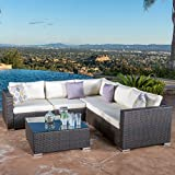 Great Deal Furniture Francisco Outdoor 6-piece Brown Wicker Seating Sectional Sofa Set with Cushions For Sale
