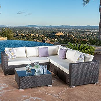 Francisco Outdoor 6-piece Brown Wicker Seating Sectional Sofa Set with Cushions