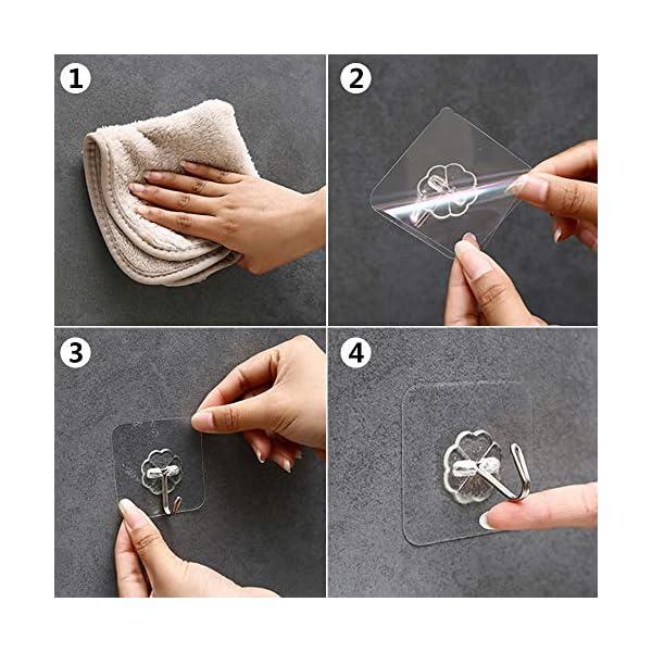 30 Stücke Selbstklebende Klebehaken, MECKILY Transparente Haken, Handtuchhaken für Küche Bad Wand & Decke Aufhänger