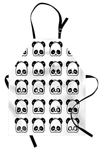Lunarable Panda Apron, Panda Face Expressions Cartoon Picture Smiling Crying Surprised Kids Pattern, Unisex Kitchen Bib Apron with Adjustable Neck for Cooking Baking Gardening, White and Black