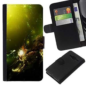 KLONGSHOP // Tirón de la caja Cartera de cuero con ranuras para tarjetas - Verde Galaxia Nebulosa Estrella Sol Planetas Gas Nube - Samsung Galaxy Core Prime //