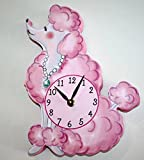 Pink Poodle Paris Girls Wooden WALL CLOCK for Kids Bedroom Baby Nursery WC0036