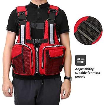 Slimerence Fly Fishing Vest Pack, Boat Aid Sailing Kayak Floating Life Jacket Vest, Adjustable Adjustable Belt of Size for Men and Women