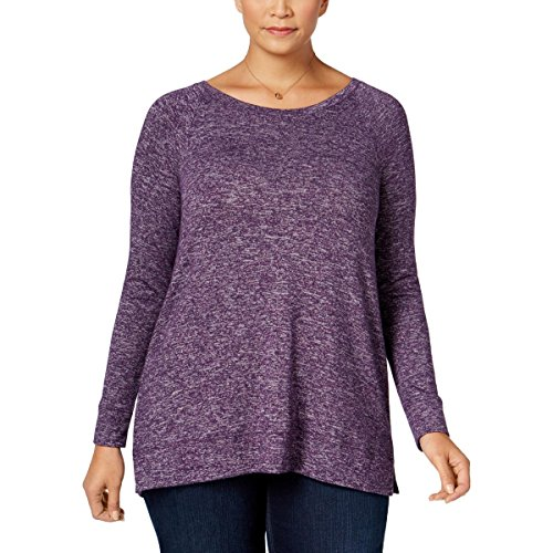 Style & Co Shirt Top (Style & Co. Womens Plus Marled Long Sleeves Blouse Purple 2X)