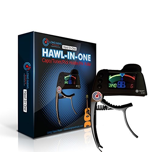 Board Chromatic Guitar Tuner (Quick Change Guitar Capo, Chromatic Clip On Tuner, Pick Holder, and Pin Puller Combo for Electric, Acoustic, and Bass -- Hawl-In-One by Long Hawl Music (LH-03))