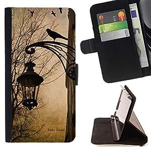 """For Samsung Galaxy S6 Edge Plus / S6 Edge+ G928,S-type Lámpara primavera caída del otoño Cuervo Calle"""" - Dibujo PU billetera de cuero Funda Case Caso de la piel de la bolsa protectora"""