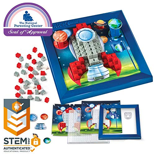 Brick Mates - Stack By Numbers - Rocket Ship - STEM Toy For Kids 5 & Up - 3D Puzzle - Educational Toy - Learning Activity