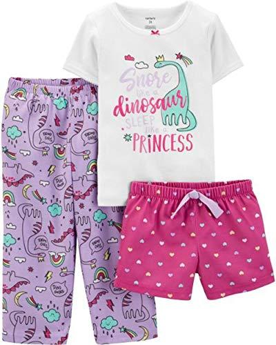 Snore Like A Dinosaur - Sleep Like A Princess 3-Piece Toddler Pajamas (3T, Pink & Purple)