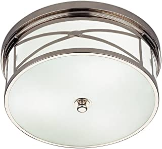 product image for Robert Abbey S1985 Flush Mounts with White Glass Shades, Polished Nickel Finish