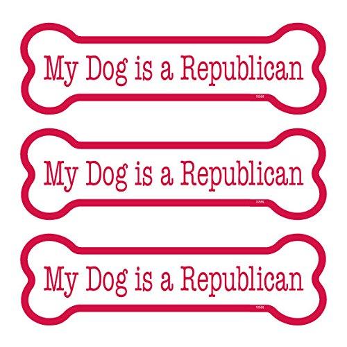 "My Dog is a Republican 3-PACK of 2"" x 7"" Bone Shaped Car Ma"