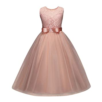 Hot Sale!!! Kids Girl Formal Pageant Dress Children Lace Floral Embroidery Sleeveless Bowknot