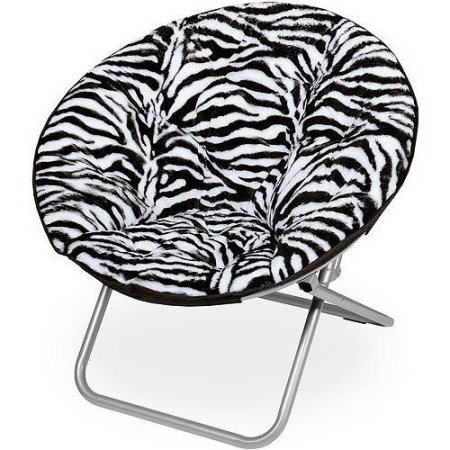 (Moon Saucer Chairs for Kids Teens Adults Faux Fur Folding Padded Portable Gaming Chair Bundle Includes 2 in 1 Stylus Pen from Designer Home (Zebra))