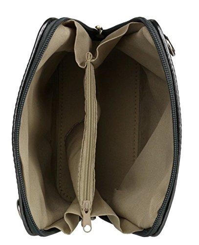 Handbag Bag Metalic Genuine Body Pelle Shoulder Pewter Bag Mini Vera Cross Italian Small or Leather fpqwv4z