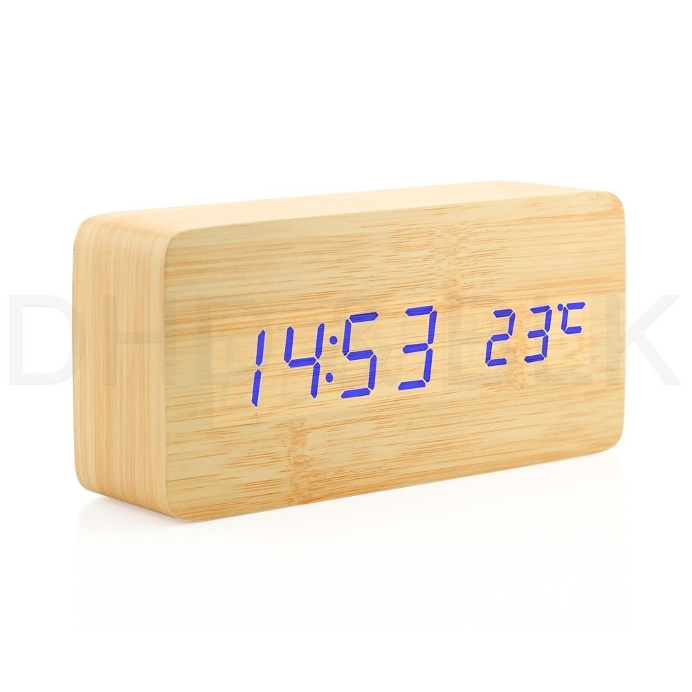 DEEP TOUCH Wooden Digital Alarm Clock, Wood Fashion Multi-function LED Alarm Clock with USB Power Supply, Voice Control, Timer, Thermometer - Bamboo