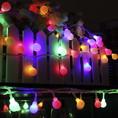 100 LED Outdoor Globe String Lights, 8 Dimmable Lighting Modes with Remote & Timer