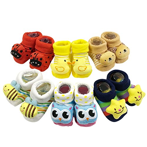 ALLYDREW Newborn 3D Booty Slipper 3D Non-Skid Socks Cartoon Booties (Set of 6) 3d Cartoon,0-12 Months ()