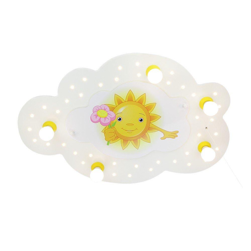 LED Schlummerlicht Bilderwolke Sonne weiss 5er Deckenlampe elobra 126479