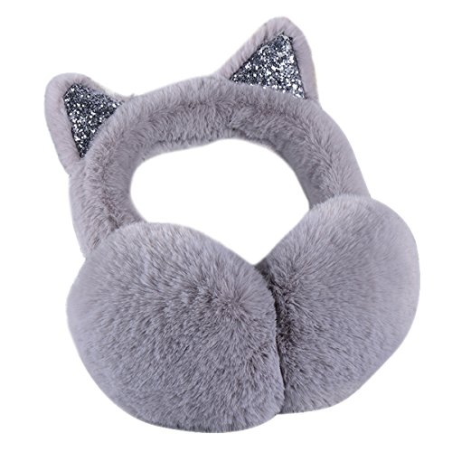 Surblue Women's Winter Warm Cat Ear Earwarmer Knitted Earmuffs (GRAY, F)
