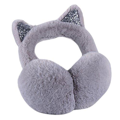 Surblue Women's Winter Warm Cat Ear Earwarmer Knitted Earmuffs (GRAY, F) ()