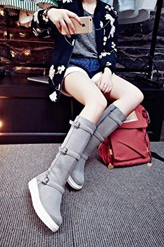 Carolbar Femmes Mode Confort Décontracté Simple Boucles Fermeture À Glissière Populaire Mi-mollet Bottes Gris